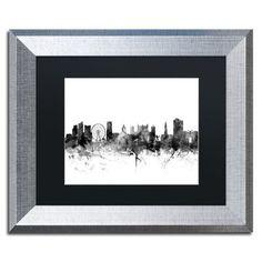 """Trademark Art """"Nottingham England Skyline B&W"""" by Michael Tompsett Framed Graphic Art Size: 1"""