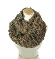 Knit Infinity Scarf, Circle Scarf, Hand Knit Scarf, Knitted Scarf, Cowl, Brown Scarf, Gift Idea For Her, Fashion Accessory, Bulky Scarf - pinned by pin4etsy.com