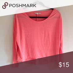 American Eagle oversized long sleeve top American Eagle slouchy oversized long sleeve shirt in a peach / coral tone of pink. Size XS, but it could fit a small as well. Bundle to save! American Eagle Outfitters Tops Tees - Long Sleeve