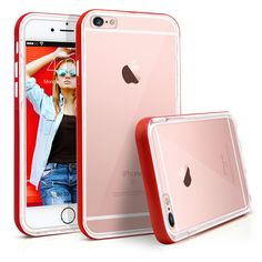 iPhone 6S Case, MagicMobile Protective Slim Design Clear Crystal Case for Apple iPhone 6S with [Armor Bumper Frame] Transparent TPU Hard Impact Scratch Resistant Case Cover for iPhone 6S (Red). Clear case with color bumper frame is specially designed to p