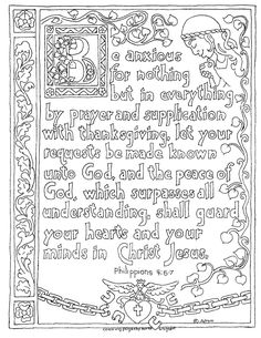 Coloring Pages for Kids by Mr. Adron: Printable Philippians 4:6-7 Illuminated Text Style Coloring Page