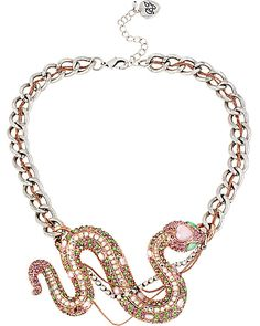 REPTILES SNAKE NECKLACE PINK