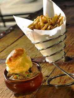 Steak and #Guinness Pie with puff pastry at Crepe Cellar. Served with our hand-cut twice-fried #frenchfries