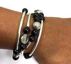 Jewelry, Bracelets, Bangles, Beaded Wrap Bracelet, Black Agate Beads, Gift for Her, Bridesmaid, Elastic Stretch Cord #WeddingGift #BlackAgateBeads #WrapBracelet #BohoJewelry #GiftForHer #bangle #BridesmaidGift #WrapLeather #BohoBracelet #BohemianBracelet
