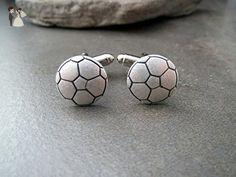 Handmade Oxidized Silver Soccerball Cuff Links - Groom fashion accessories (*Amazon Partner-Link)