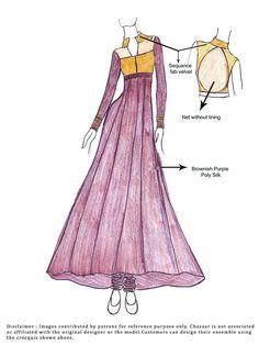 DIY Purple Poly Silk Anarkali Suit