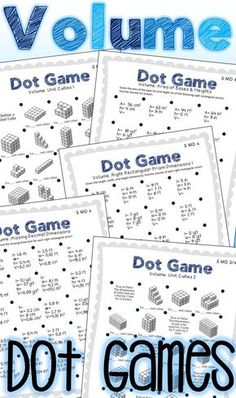 Volume Dot Games are a fun and easy way to practice finding volume using unit cubes and formulas. Use as a math center in your classroom and keep early finishers learning while having fun with this little to no-prep option!