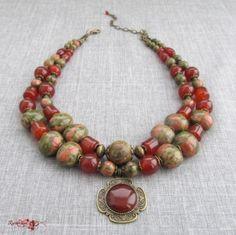 "Намисто ""Оберіг"" Diy Jewelry, Beaded Jewelry, Beaded Bracelets, Necklaces, Collar Necklace, Horn, Beads, Inspiration, Jewerly"