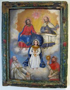 Assumption of the Virgin with Adoring Saints with Husenbeth and Clement References O-C-022. A 18th Century Spanish (probably Mexican) oil on stone painting in its original frame.