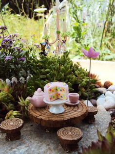 Fairy Garden Miniature Confetti Cake Dollhouse by HelloLittleCloud