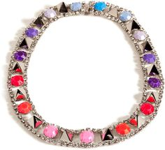 Purplepink Graduated Crystal Necklace with Silver Studs - Lyst