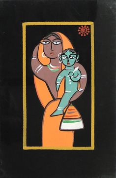 Mother and Child (Jamini Roy Painting Reproduction on Cloth - Unframed))