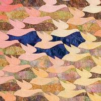 detail of A Study in Visual Perception by Mary Knapp, a free Escher-inspired web pattern from Quilters Newsletter -- Weekend Workshop: Scrap Happy