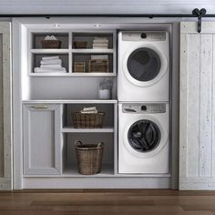 Laundry room cabinets get inspired by our laundry room storage ideas and designs. Allow us to help you create a functional laundry room with plenty of storage and wall cabinets that will keep your laundry. Small Laundry Rooms, Laundry Room Organization, Laundry Room Design, Laundry In Bathroom, Laundry In Kitchen, Basement Laundry, Laundry Closet Makeover, Laundry Cupboard, Laundry Room Doors