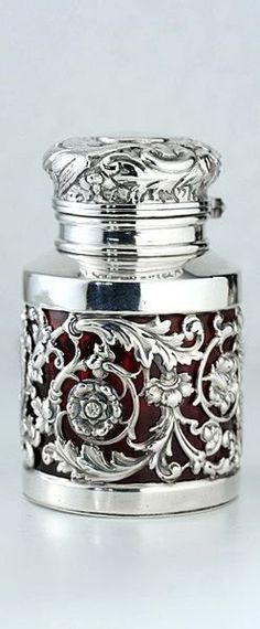 Antique Sampson Mordan silver cased ruby glass scent / perfume bottle.  English, dated 1891