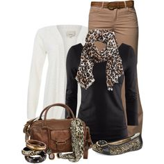 """Animal print"" by immacherry on Polyvore. I'm not a big animal print fan, but this is nicely balanced."