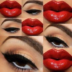 Bold take on the classic cat eye/red lip combination. White liner on the waterline brightens and makes the eye look larger.