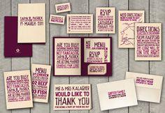 Typographic Wedding Invitation Set by Rachel Kalagher on Behance