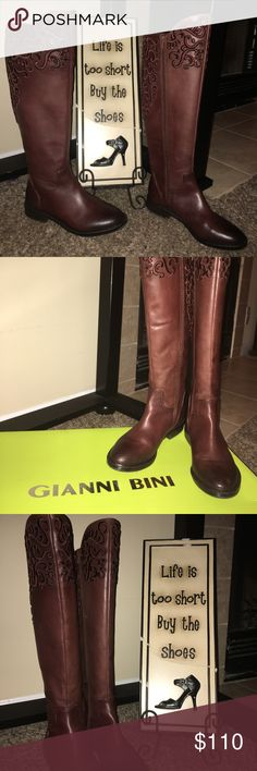 "👢Gianni Bini boots👢 👢✨Stunning Gianni Bini brown boots with intricate design and stitching.✨👢 WORN ONLY ONCE! Like brand new condition!  Size: 7   Just slightly over the knee-- I'm short at 5'1"" so they go over my knee  The brown is more like a reddish brown and the toes are a deep dark brown--BEAUTIFUL!   Bottom to top in front: 19"" Bottom to top in back: 17""  1"" heel    Comes with box! Gianni Bini Shoes Over the Knee Boots"
