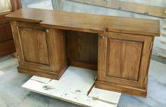 Custom sized desk built from Hickory. Love the finish.  www.brendancarpenter.com
