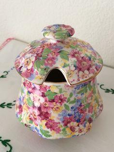 """Vintage Chintz Jam Jar or Sugar with Lid, James Kent Ltd, """"Apple Blossom"""" Pattern by MyBloomingNest on Etsy https://www.etsy.com/listing/229491805/vintage-chintz-jam-jar-or-sugar-with-lid"""