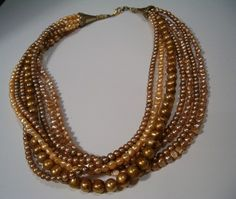 Golden Glow Freshwater Pearl Multi Strand  by kathykaberline, $65.00