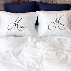 Lesbian Couples pillowcases, (Set of 2) Read the About page and you will understand why wedding theme is so important for me! :) This couple pillow cases is excellent gift for the lesbian wedding. This Mrs and Mrs couple is very unique and beautiful for sure will touch your heart! This bedding will decorate every bedroom and make it sweet, romantic and creative. Great idea to say I Love You Also creative gift idea for a Valentines Day, Anniversary or just a Surprise for a new lesbian…