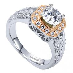 14K White/Rose Gold Victorian Halo Engagement Ring