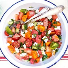 This Watermelon-Tomato Salad Screams Summer: The following post was written by Lucy Parissi, who blogs at Supergolden Bakes and is part of POPSUGAR Select Food.