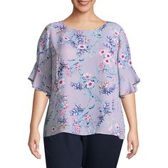 ed8a1134c3a Liz Claiborne Ruffle Sleeve Blouse- Plus - JCPenney