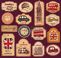 Vintage Labels Vintage tags and labels with London symbols Vinyl Wall Mural - European Cities - Vintage tags and labels with London symbols Wall Mural ✓ Easy Installation ✓ 365 Day Money Back Guarantee ✓ Browse other patterns from this collection! Vintage Tags, Vintage Labels, Printable Vintage, Printable Stickers, Cute Stickers, Free Printable, Image Clipart, Journal Stickers, Thinking Day