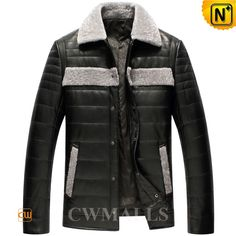 "CWMALLS Mens Lambskin Down Filled Jacket CW846052 ""Fashion-forward lambskin down filled jacket with supple lambskin leather shell,down filled, and delivers the ultimate winter fashion. Superb quality shearling collar leather jacket dress you for fancy or casual wear. www.cwmalls.com PayPal Available (Price: $597.89) Email:sales@cwmalls.com"