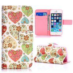 Hartjes en bloemen bookcase hoes voor iPhone 5 / 5S