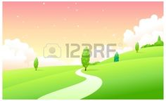 Diese Abbildung ist eine gemeinsame Naturlandschaft. Curved Weg über grüne Landschaft Illustration