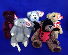 Lot 5 Ty Attic Treasures Bears Bugsy Blarney Fairbanks Beargundy Squeaky Mouse #Ty