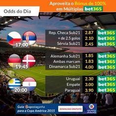 Odds do Dia e Picks AG para a Copa América 2015 e UEFA Under-21 Championship As apostas já rolam   ⚽http://bit.ly/rep-checa-vs-servia-euro-sub-21-MachadoHugo7 ⚽http://bit.ly/alemanha-vs-dinamarca-euro-sub21-MachadoHugo7 ⚽http://bit.ly/uruguai-vs-paraguai-copa-america-MachadoHugo7 ⚽http://bit.ly/servia-vs-rep-checa-euro-sub-21-bruno_scg93  #apostasdesportivas #apostasonline #apostas #bet365 #CopaAmerica2015 #U21Euro