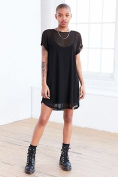 Silence + Noise Mesh T-Shirt Mini Slip Dress