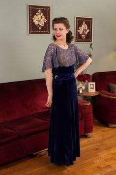 Vintage 1930s Dress Sapphire Blue Silk Velvet Designer by FabGabs