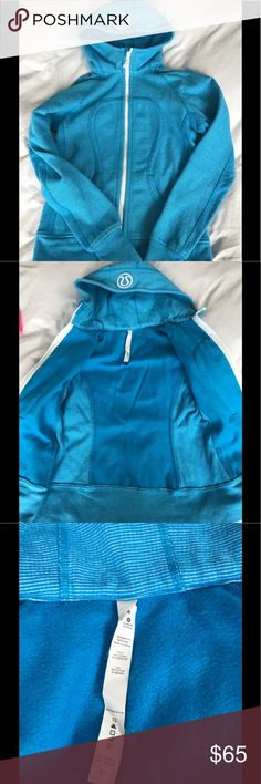 Lululemon Blue Scuba Hoodie Jacket Womens Never worn, new condition. Naturally breathable Cotton Fleece fabric feels thick, soft and cozy long after you've cooled down  soft and cozy naturally breathable heat retention lululemon athletica Jackets & Coats