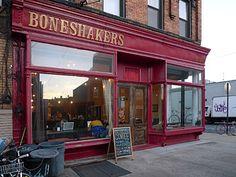 Boneshakers cafe, Brooklyn  'Bikes, food and coffee'  (Photos/words © urban75, Dec 2008)