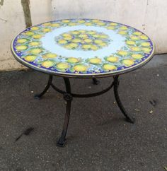 """47.5"""" Italian Volcanic Outdoor Table with Iron Base - Lemons on Blue             So many beautiful patterns and sizes to choose from!"""