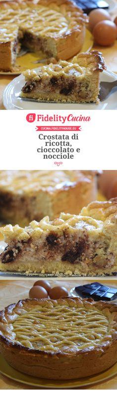 Crostata di ricotta, cioccolato e nocciole Muffin, Fruit, Cooking, Breakfast, Sweet, Desserts, Sweet Pastries, Oven, Diet