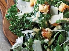 Kale Caesar Salad recipe from Anne Burrell via Food Network