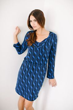 Hampton Day Dress in Cobalt Lightning from KOKOON Boutique Without Borders $149 #madeintheUSA #spring2015 #fashion http://www.kokoon.net/dresses-tunics/hampton-day-dress