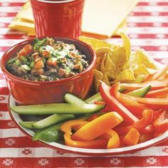 100 Top Tailgating Dips and Appetizers | Bacon Black Bean Dip | MyRecipes.com