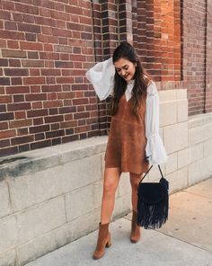 free people suede dress fall outfit, lace shirt, layered 70s style boho