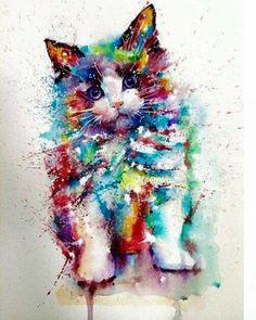 Watercolor Cat, Watercolor Animals, Landscape Watercolour, Tattoo Watercolor, Watercolour Painting, Rainbow Art, Cat Colors, Cat Drawing, Cat Tattoo