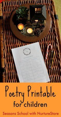 Easy poetry prompts for children - NurtureStore