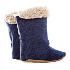 Boot / Unisex - Denim and Beige Sheepskin - - Myang SA Toddler Boots, Toddler Outfits, Bearpaw Boots, Ugg Boots, Denim Boots, Stylish Boots, Baby Accessories, Snug Fit, Kids Fashion