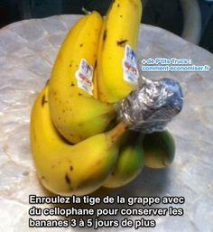 Enroulez la tige de la grappe avec du cellophane pour conserver les  bananes 3 à 5 jours de plus